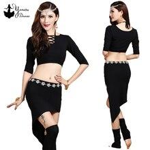 New Belly Dance Practice Clothes Modal Material Comfortable Short Tops 3/4 Sleeve Irregular Shape Dance Skirt Yoga Women Skirts