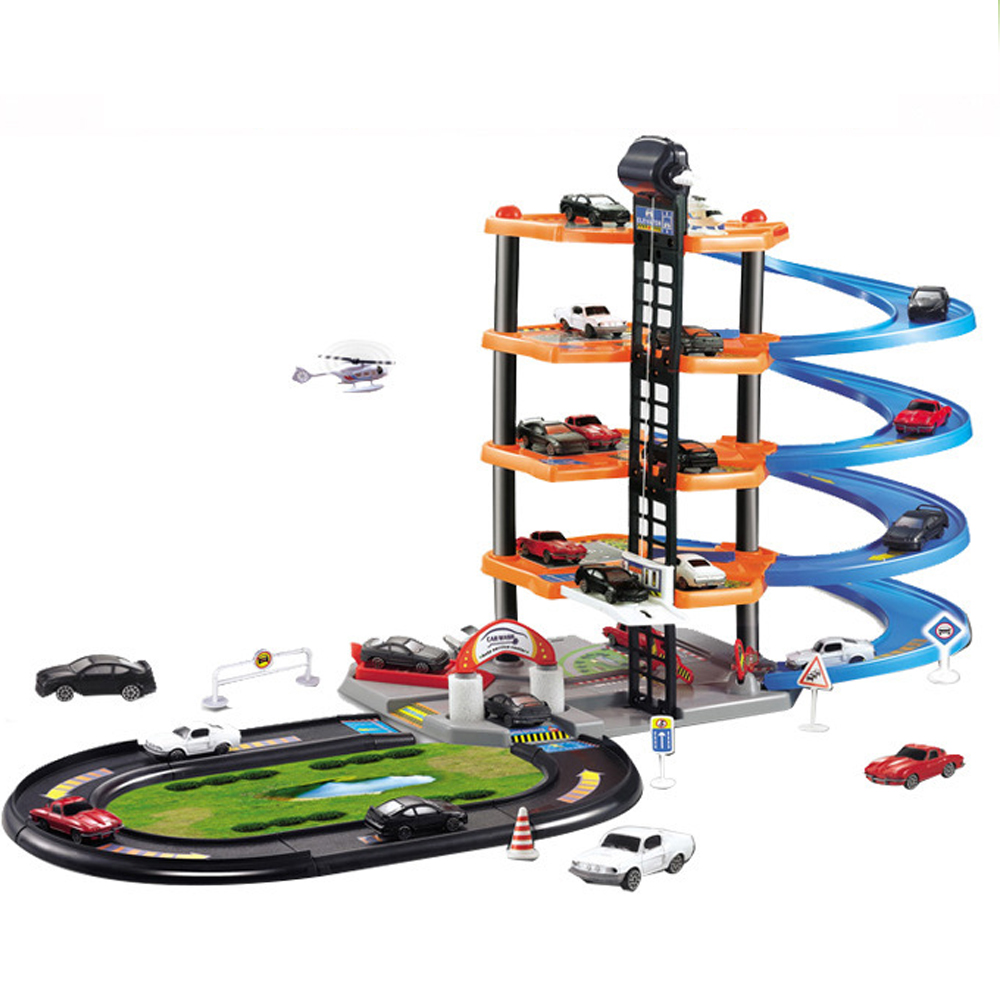 4 Layers Hot Wheels Parking Car 3D Racing Track Toys Multilayered And Assemble Railroad Car Toys For Children Christmas Gifts