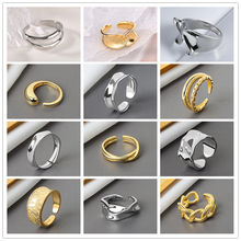 Rock Metal Geometry Circular Punk Rings Wave Opening Index Finger Ring Accessories Buckle Joint Tail Ring for Women Jewelry Gift