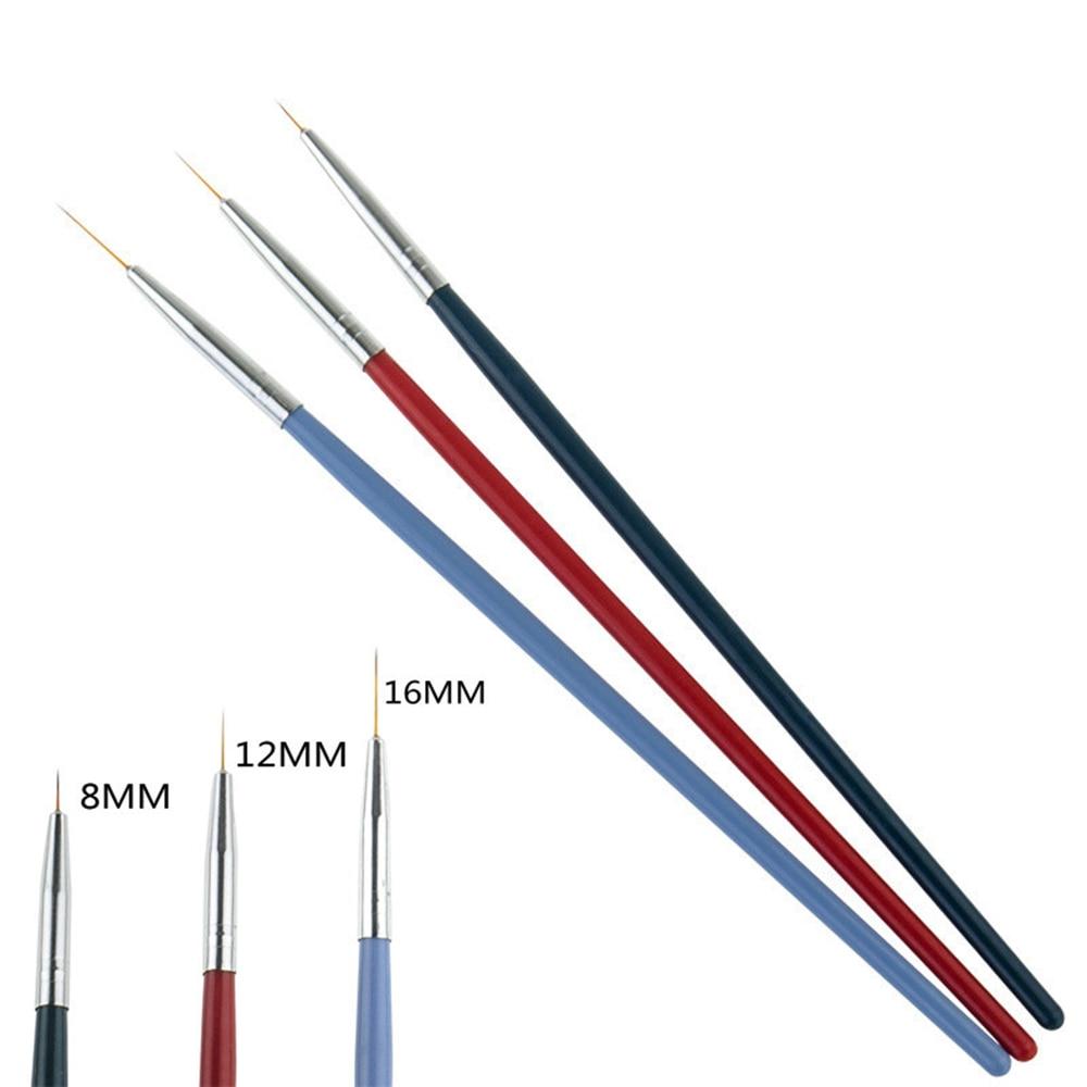 3 Pcs/Set DIY Nail Pen UV Nail Gel Brush Drawing Pen Nail Art Tools Nail Painting Brush Manicure Tools DIY Carving Nail Brush