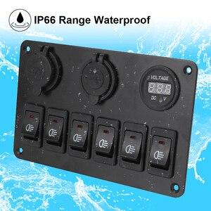 Image 5 - DC 12V/24V 6 Gang Rocker Switch Panel Waterproof Dual USB Ports LED Digital Voltmeter Circuit Breaker ON/OFF Lights Car Marine