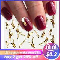 1 blatt Gold Zipper 3d Designs Nail art Aufkleber Decals Maniküre Decor Werkzeuge DIY Nail art Tipps Mode Zubehör LAXF6021