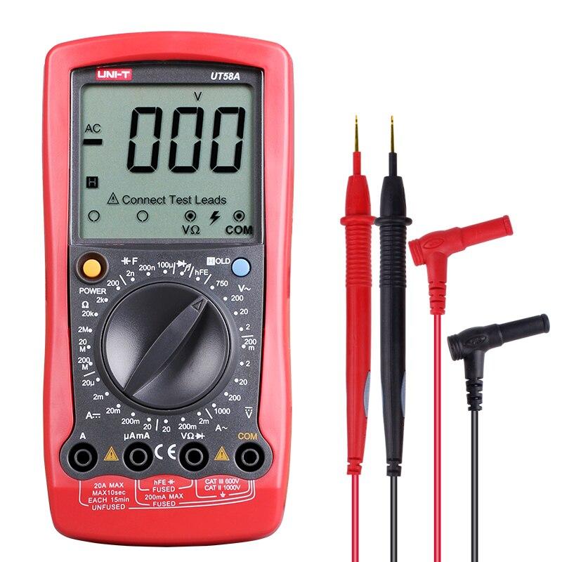 Aletler'ten Multimetreler'de UNI T UT58A Esr metre dijital multimetre AC/DC voltmetre dijital ampermetre elektrik ölçüm aletleri kapasitör test cihazı title=