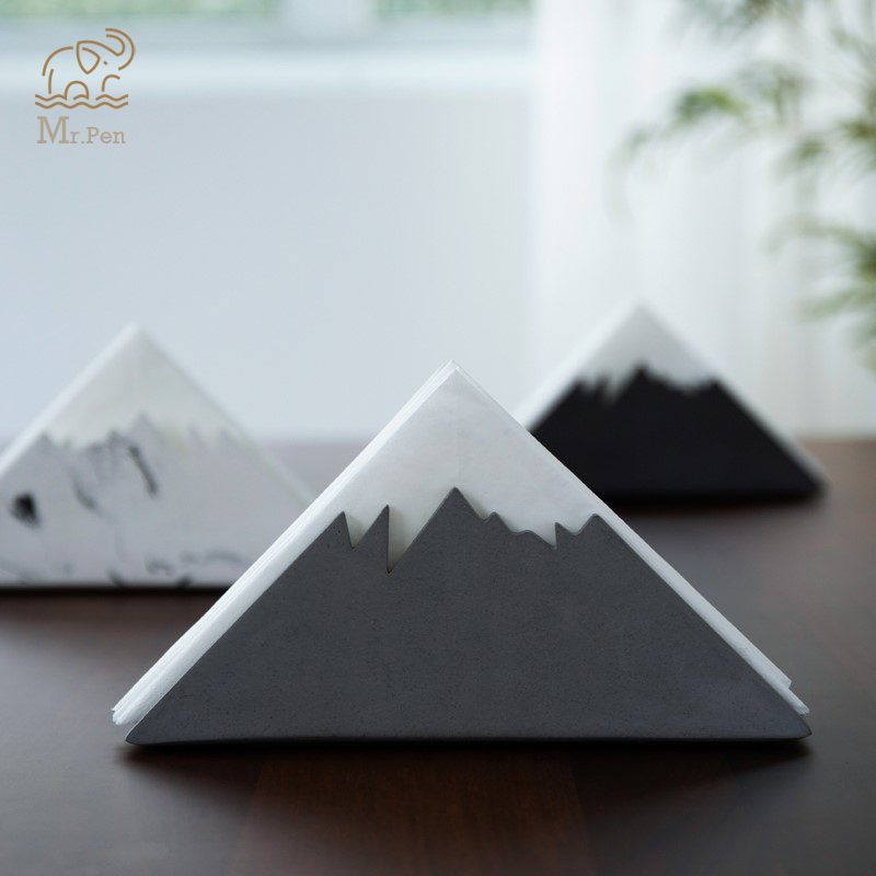 Creative Snow Mountain Cement Tissue Rack Toilet Paper Holder Napkin Holder Hotel Western Restaurant Paper Rack Office Desk Set