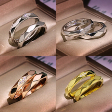 Simple Gold Silver Color Wedding Rings for Women Men Couple Crystal Zircon Rings Luxury Engagement Love Ring Jewelry Gift D5Z099 luxury heart gold wedding ring set cz pave crystal rings for women fashion jewelry couple love ring men engagement gift o3m039