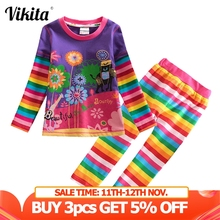 VIKITA Children Clothing Sets Toddler Girls Clothes Costume Outfit Suit Kids T shirt Pants Clothes for Girls Clothing Sets cheap Casual CN(Origin) O-Neck None L328-F5508 Cotton Full Regular Fits true to size take your normal size Shorts striped T-shirts with Leggings