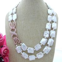 NEW 20 2 Strands Natural White 16 20mm Rectangle irregular Freshwater Pearl Necklace
