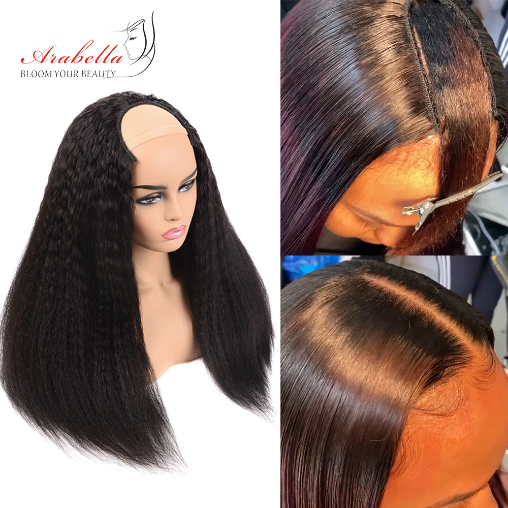 U Part Wig Brazilian Kinky Straight Hair Natural Color 100% Remy Human Hair Wigs Arabella Italian Yaki Hair Human Hair Wigs