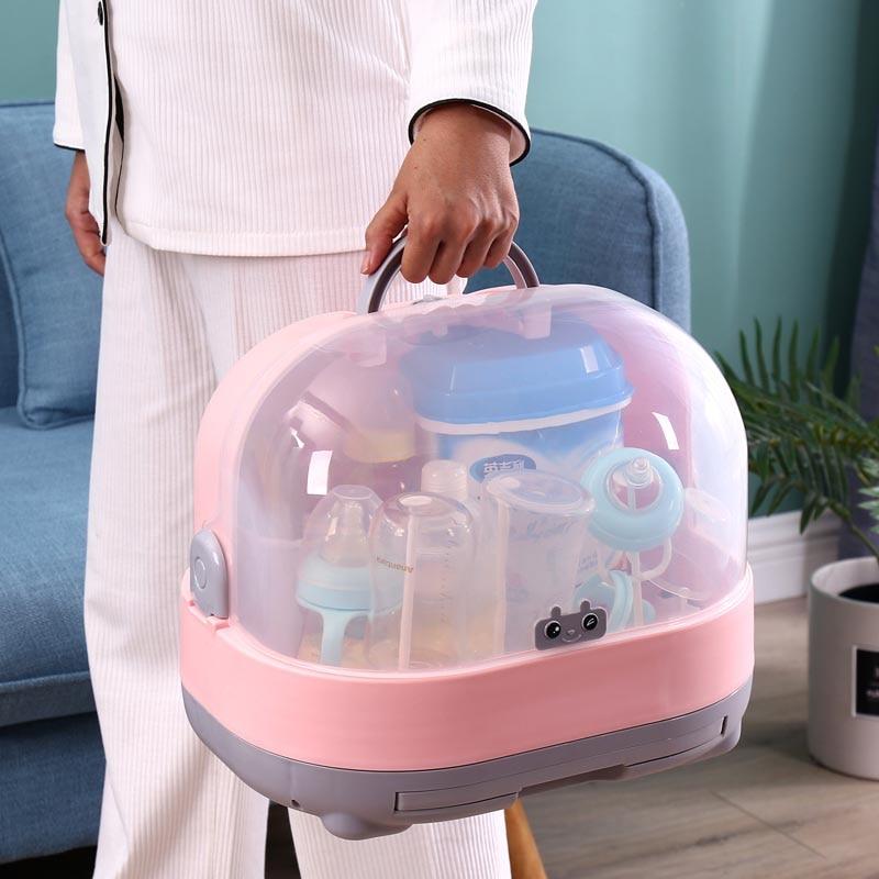 Sunsang Estante de secado para botellas de beb/é con cubierta antipolvo y caja de almacenamiento para botellas de lactancia con abrazadera rosa rosa
