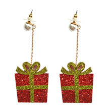 2019 New Rushed Tin Alloy Cartoon Earings Brinco Europe And The Christmas Ornaments Cute Pearl Long Earrings Gift Box
