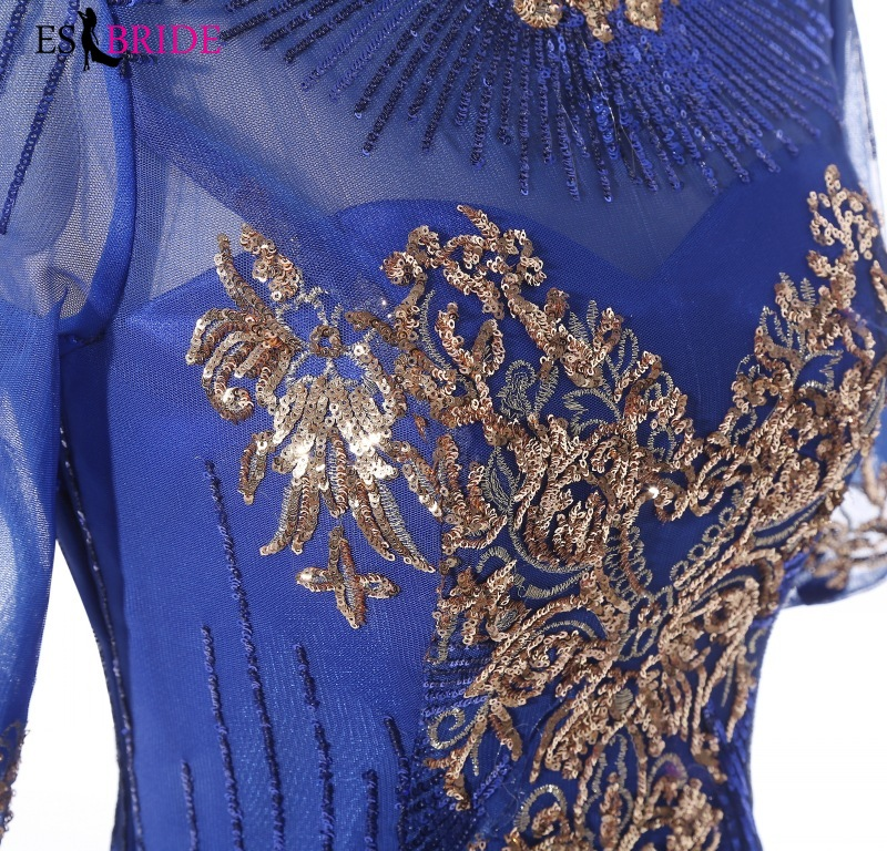 Royal Blue Evening Gown Gold Shiny Bead Piece Evening Dress Formal Mermaid Long Robe De Soiree Special Occasion Dresses ES2607