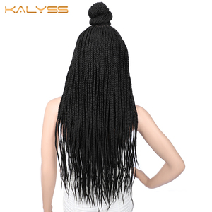 Image 4 - Kaylss 30 Inches 13x7 Braided Wigs Synthetic Lace Front Wig Updo Braided Wigs with Baby Hair for Black Women Cornrow Braided Wig