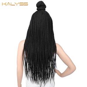 Image 4 - Kaylss 30 polegadas 13x7 trançado perucas sintéticas peruca dianteira do laço updo trançado perucas com cabelo do bebê para preto feminino cornrow trançado peruca
