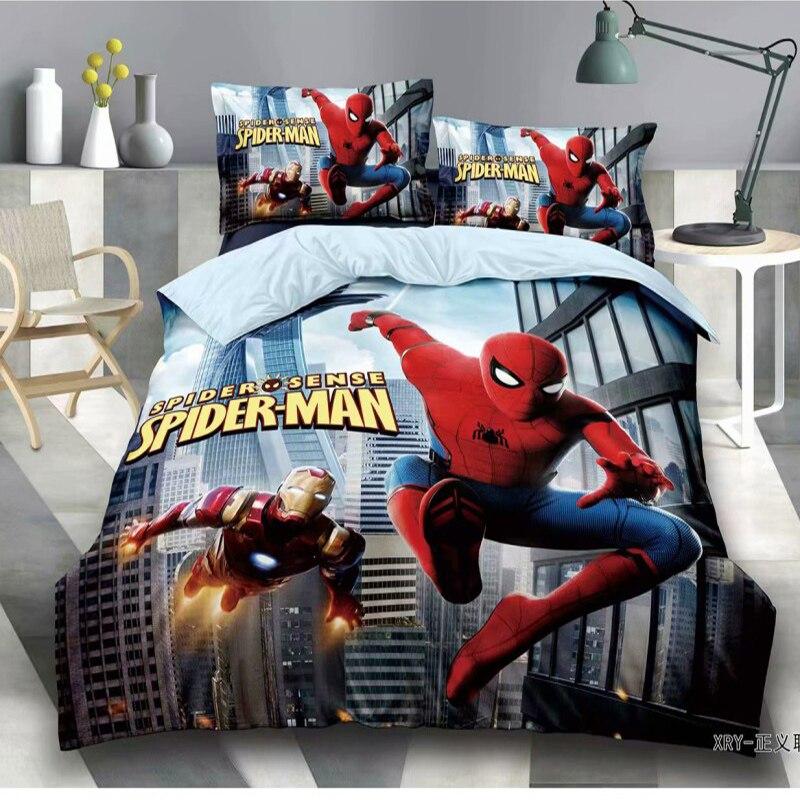 Parure de lit dessin animé Disney   Spiderman Superman Avengers housse de couette, taie d'oreiller, cadeau d'anniversaire pour enfants garçon, lit 1.0m 1.2m