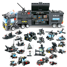 647 шт. Набор строительных блоков 8 в 1 городская полиция SWAT грузовик блоки Кирпич комплекты автомобиля создатель Juguetes образовательные игрушки для детей