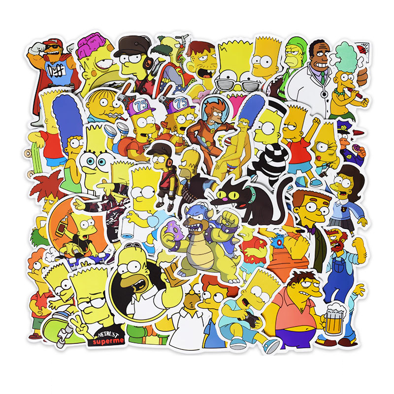 50pcs Not Repeat Simpson Cartoon Doddle Waterproof Sticker For Luggage Car Guaitar Skate Phone Laptop Bicycle Moto Stickers