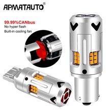 2 adet T20 7440 P21W LED Canbus PY21W hiçbir hata BA15S 1156 3000Lm BAU15S hiçbir hyper flaş 12V dönüş sinyal lambası süper parlak sarı
