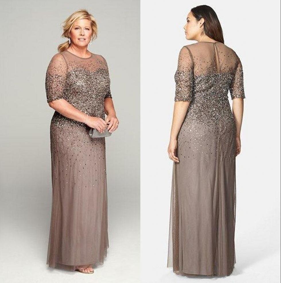 Plus Size Custom Mother Of The Bride Dresses Beads Vestido De Madrinha Sequins Half Sleeve Party Mother Of The Groom Dresses