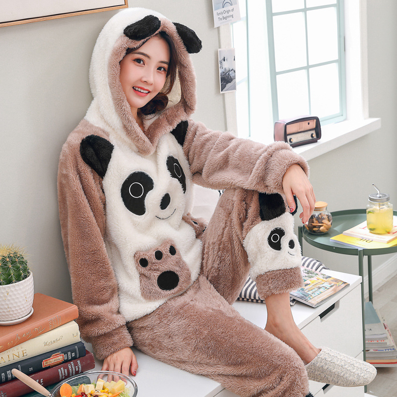 Ladies Cute Cartoon Flannel Long-Sleeved Home Service Suit Coral Velvet Pajamas Women Winter Thick Warm Autumn And Winter