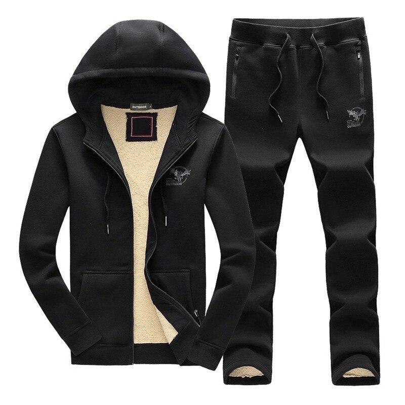 Winter New Casual Hooded Sweatshirt Mens Two Pieces Sets Brand Cotton Thick Warm Tracksuit Pants Men Plus Size 3XL Sport Suit
