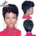 Die Cut Leben Kurze Lockige Bob Pixie Cut Volle Maschine Machte Keine Spitze Menschliches Haar Perücken Mit Bang Für Schwarz frauen Remy Brazilian Haar