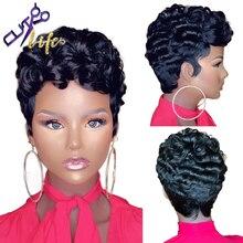 La Corte la vida corto rizado Bob corte Pixie máquina completa No encaje pelucas de cabello humano con la explosión para las mujeres negras pelo brasileño de Remy