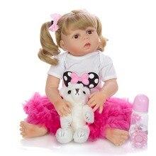 57CM bebe doll reborn toddler girl doll in pink dress full b