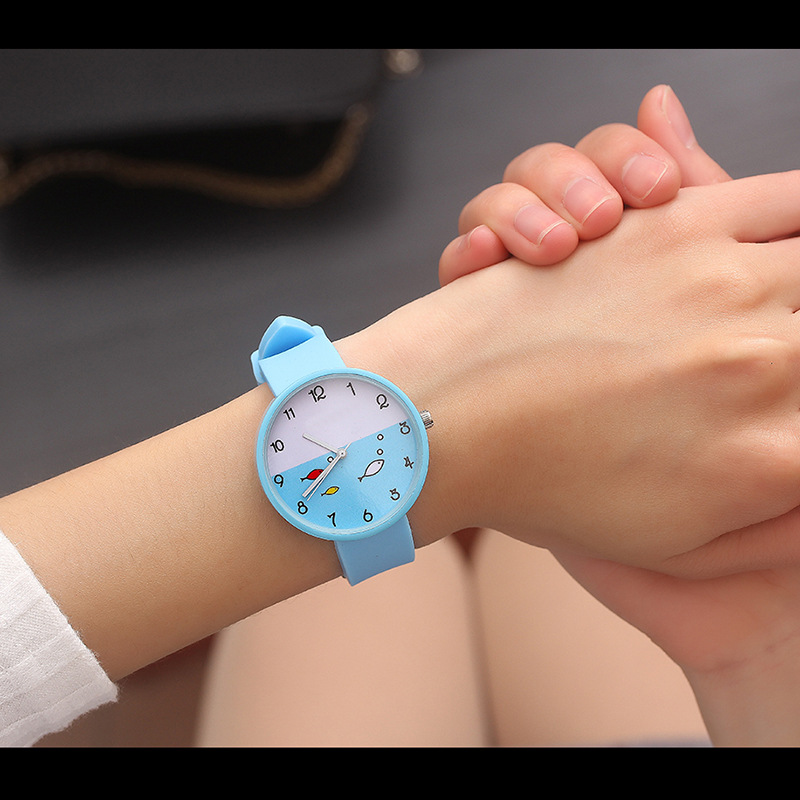 Children's Watch Female Students Watch Korean-style Simple Cute Black And White Powder Candy-Colored Jelly Hipster Trend Soft Gi