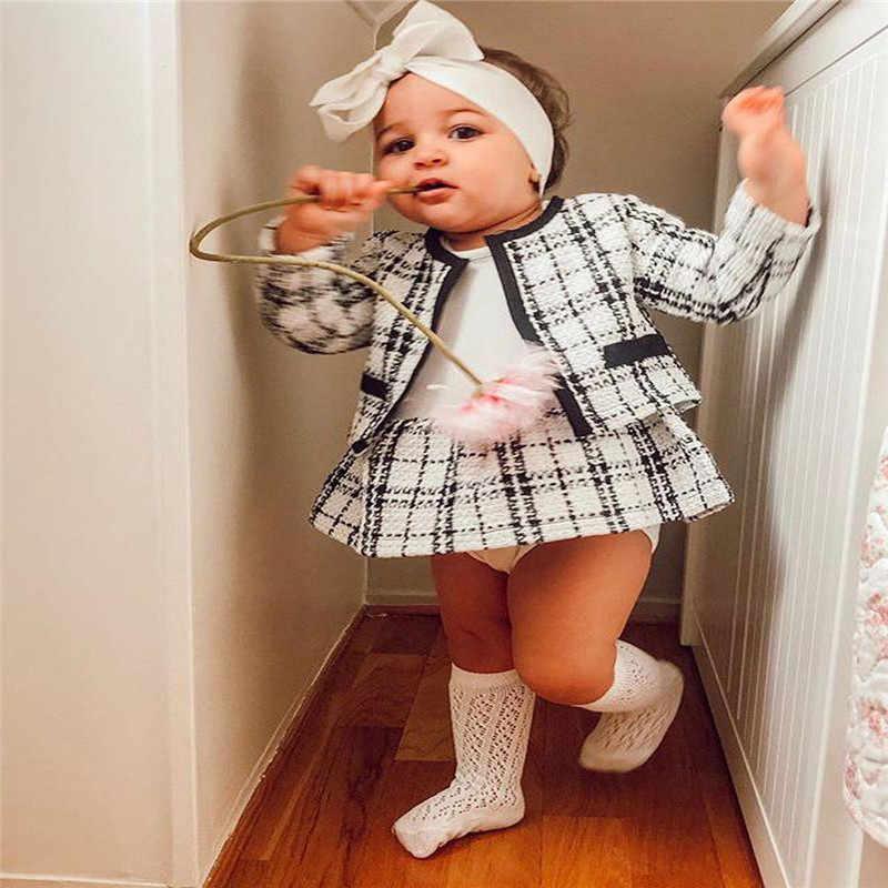 Niños Niñas Ropa de niño otoño abrigo de manga larga Top tutú chicas falda princesa vestido de fiesta largo caliente faldas Set 6M-4Y