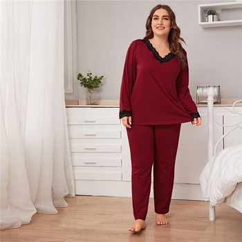 Plus Size Burgundy Lace Trim Top and Pants