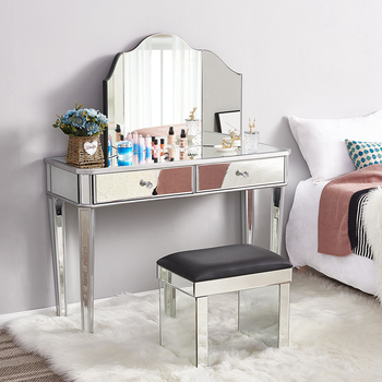 Hot Sale Mirrored Glass Dressing Table 2 Drawers 3 Folding Mirrors Stool Table Stool Bedroom Dresser
