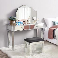 Panana gran oferta tocador de cristal espejado 2 cajones 3 espejos plegables taburete o taburete de mesa muebles de dormitorio vestidor