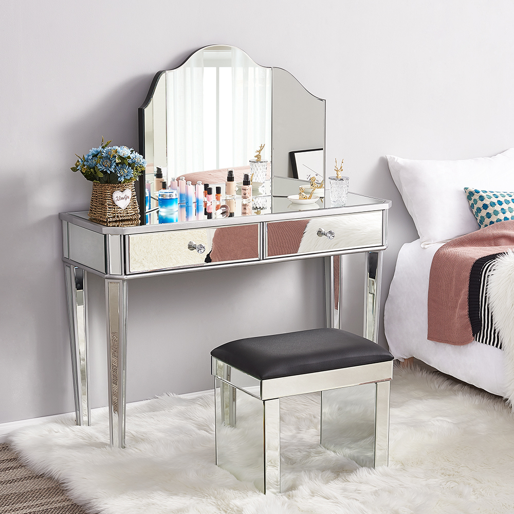 Presell Panana Hot Sale Mirrored Glass Dressing Table 2 Drawers 3 Folding Mirrors Stool Or Table Stool Bedroom Furniture Dresser