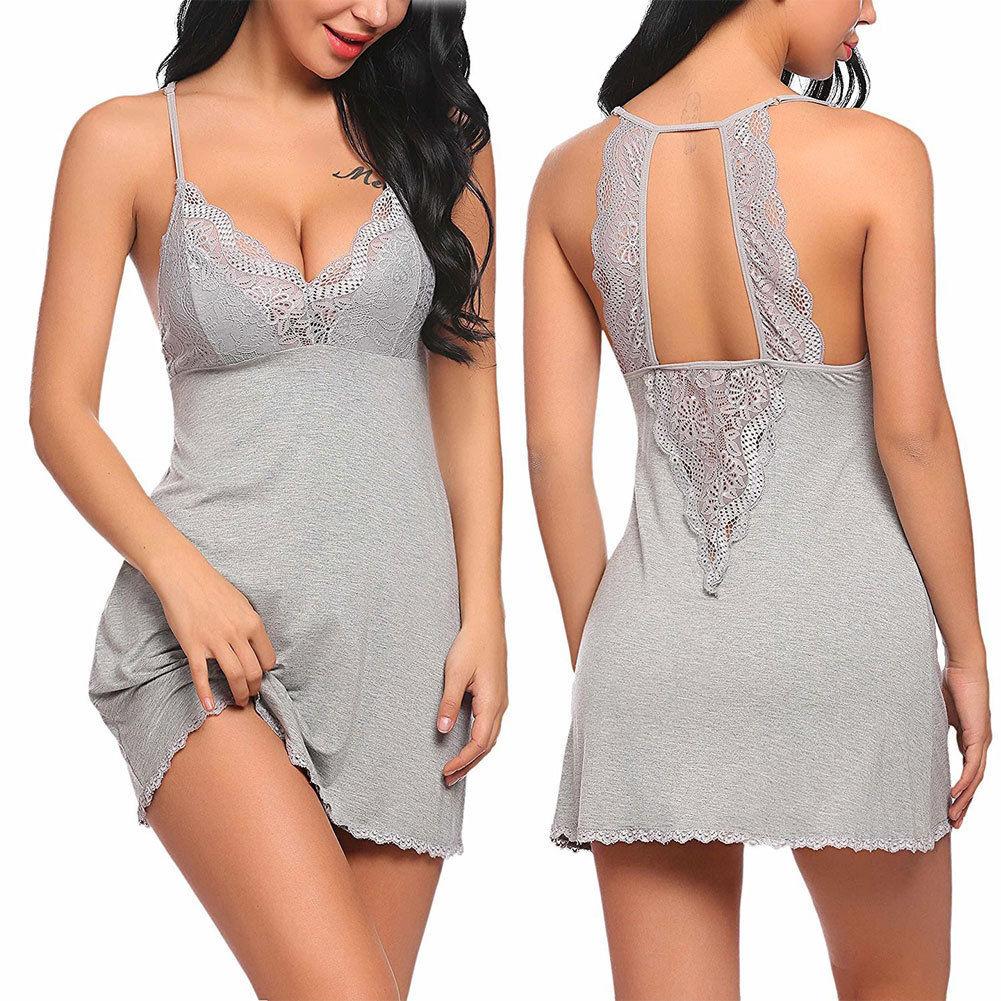 Porno Sexy Women Lingerie Lace Sleep Wear Nightdress Straps Deep V Neck Hot Erotic Robe Nightie Gown Night Dresses