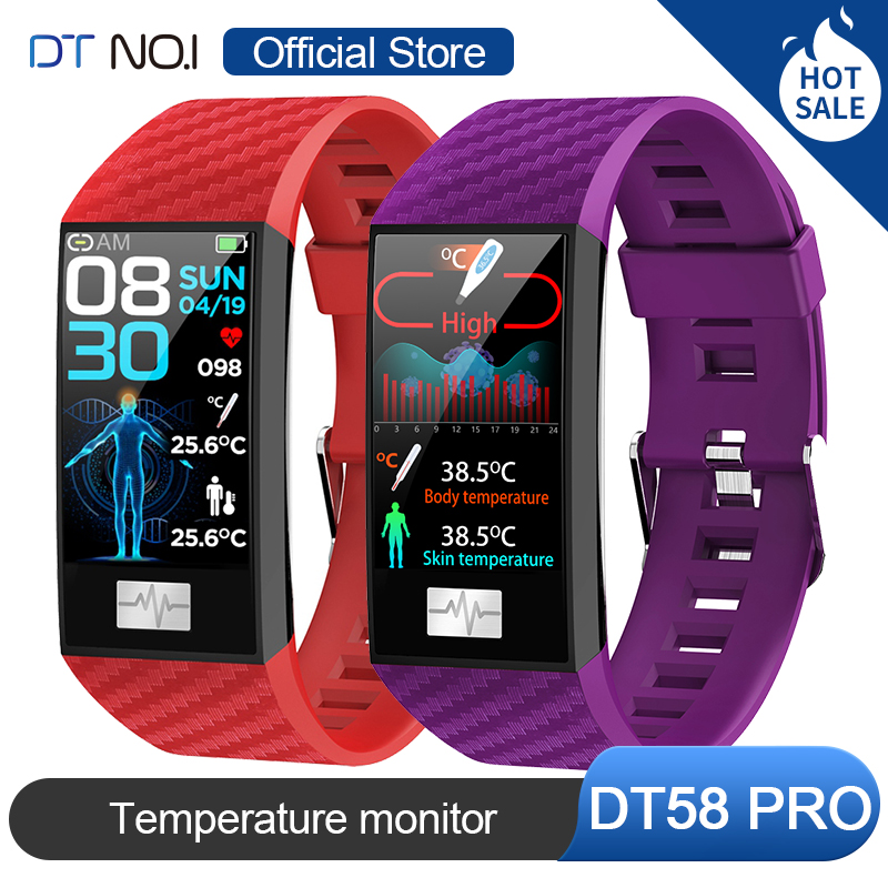 DT NO.1 DT58 Pro 24 Hour Thermometer Temperature Monitor Wristband Fitness Tracker Weather Health Smart Watch Band Men