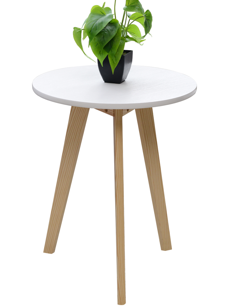 Health environmental protection tea table anti slip solid wood small round table modern simple sofa side table