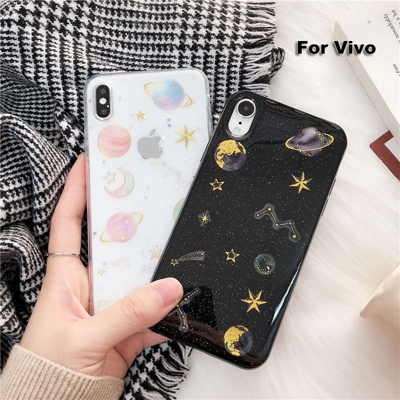 Soft <font><b>Case</b></font> For <font><b>Vivo</b></font> <font><b>Y3</b></font> Z5X S1 V15 Y97 Y93 Y85 Y83 Y79 Y75 Y71 Y67 Y66 Shockproof Metal Glitter Metal Moon Star Saturn Planet <font><b>Case</b></font> image
