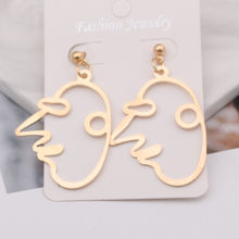 EK427 Retro Fashion Abstract Hollow Out Face Dangle Earrings 2019 Statement Circus Clown Pendant Earrings Jewelry Gift(China)