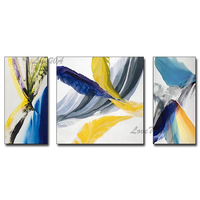Newest Abstract 3 Panels Canvas Oil Painting Wall Decoration Art 100% Hand-painted Free Shipping Paintings Artwork Bedroom Decor
