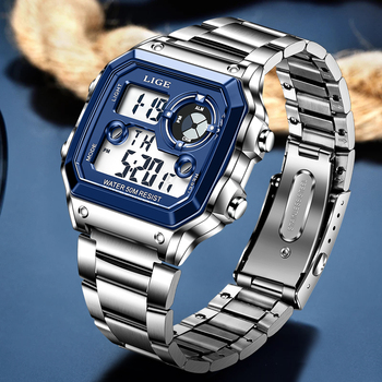 Elektroniczny zegarek mężczyźni Sport wodoodporny data zegarek z alarmem 2021 LIGE nowe mody mężczyzna zegarki Top marka luksusowe Chronograph + Box tanie i dobre opinie Z tworzywa sztucznego CN (pochodzenie) 23cm 3Bar Moda casual Cyfrowy Składane bezpieczne zapięcie Plac 23mm 12mm Hardlex