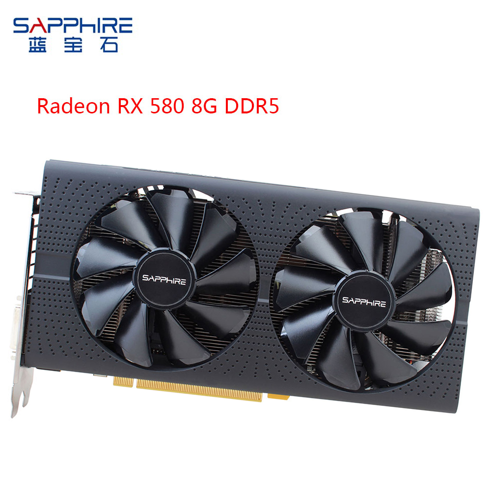 SAPPHIRE AMD RX580 Video Card Radeon <font><b>RX</b></font> <font><b>580</b></font> 8GB <font><b>GDDR5</b></font> 256bit PCI Desktop PC Gaming Graphics Card for Used Card Send 6PIN Cable image