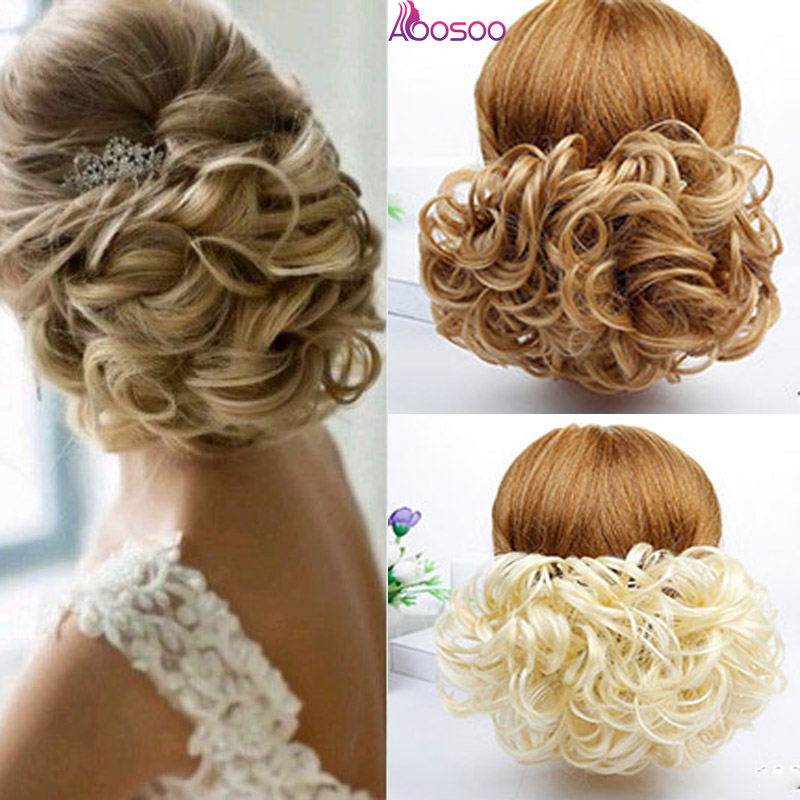 AOOSOO Short  Curly Chignon Women's Synthetic Hair Bun Black Brown With Extension With Chignon Rubber Band Combs In Hairpiece