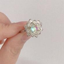 FFLACELL 2020 NEUE Japan Romantische Pure Schöne Lotus Blume Zirkon Ring, Verlobung, Hochzeit Ring für Frauen Geschenk Partei Schmuck
