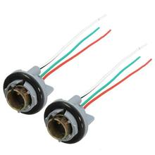 2Pcs 1157 Iron Core Socket Adapter Cable Bulb Socket BAY15D Lamp Holder Adapter Base Connector For Brake Lights