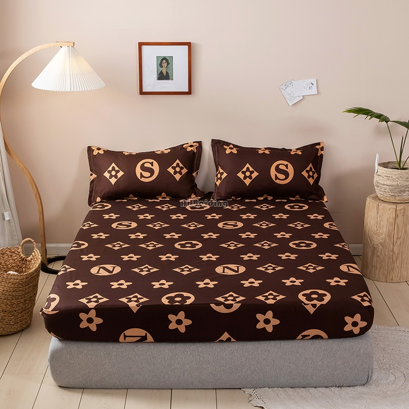 Fashion Brand Coffee Letter Printed Fitted Sheet Bed Sheet with Pillowcases 3pcs Mattress Protector Cover Twin Queen King Size|Sheet| - AliExpress
