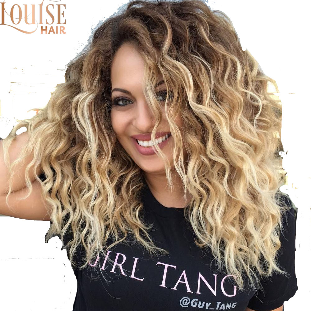 Louise Short Afro Kinky Curly  Wigs For Black Women Wavy Curly Ombre Blonde Nature Black Synthetic Wigs African 14inches