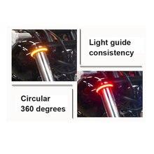 2 pçs universal motocicleta pisca led fivela de loop traseiro piscando anel luz da cauda sinais volta para harley universal veículo