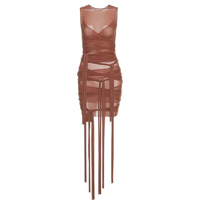 Brown Ribbons Mesh See Through Bodycon Party Dresses Women Sexy Clubwear Mini Dress Solid Sleeveless Basic Female платье Outfits 6