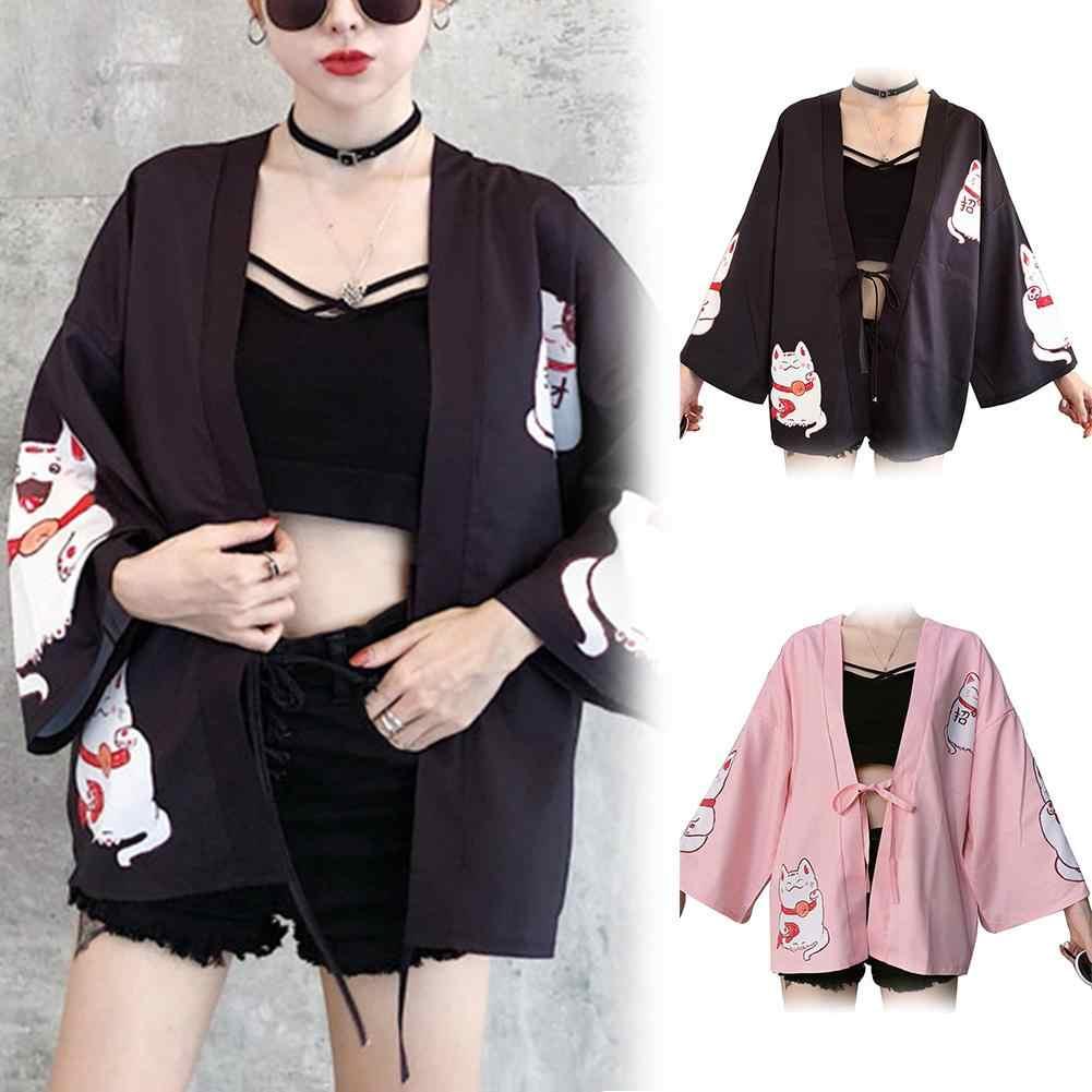 ファッションかわいい夏ビーチ女性カーディガンラッキー猫プリント着物ルース包帯カーディガン女性のためのカーディガン