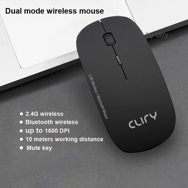 Bluetooth 5.0 + 2.4Ghz Wireless Dual Mode 2 In 1 Cordless Mouse 1600 DPI Ultra-thin Ergonomic Portable Optical Mice 4